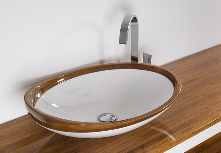Washbasin Paire assembled from artificial stone and natural wood.