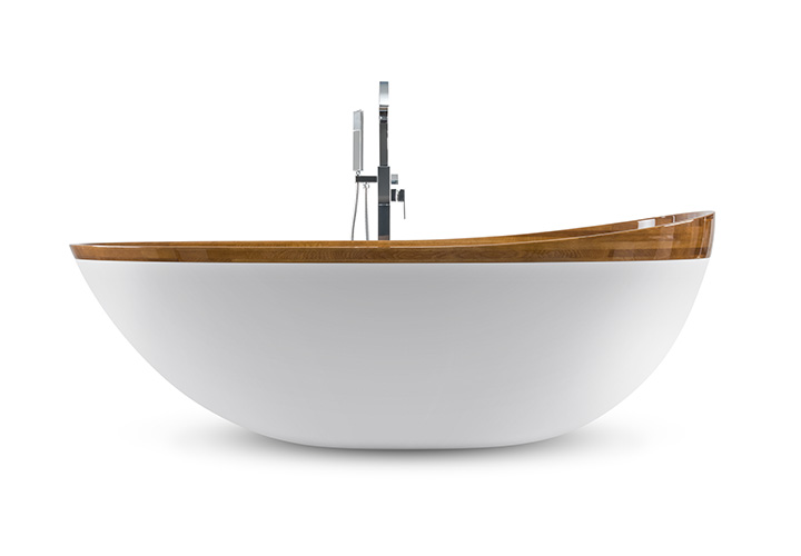 Bathtub Paire assembled from artificial stone and natural wood.